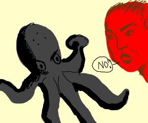 Black octo monster is angry as red guy say no