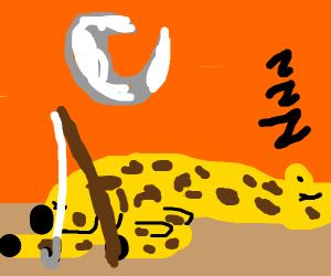 Sleeping  giraffe holding a fishing pole