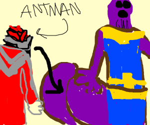 Ant man going in thanos butt