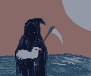 grim reaper carries a chicken over the ocean