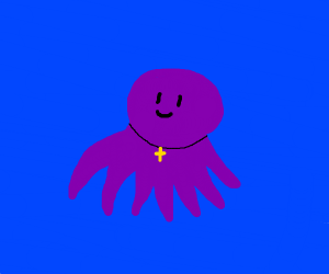 octopus with a crusifix necklace