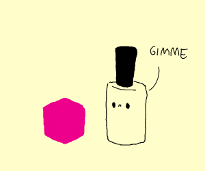 Nail polish bottle with face wants magenta