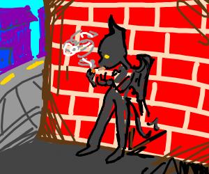 humanoid bat smokes a cig