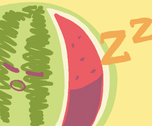 watermelon with slice out of it is sleeping