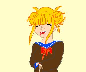 little blonde girl eats a man