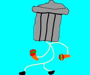 Dancing person with trash can head