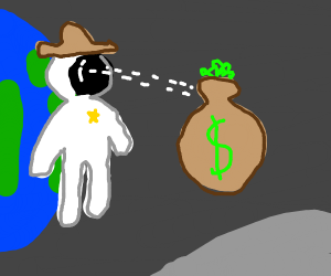 Astronaut Cowboy stares at bag of money