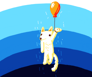 A dog being lifted into the sky by a balloon
