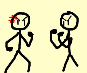 stick figures fighting