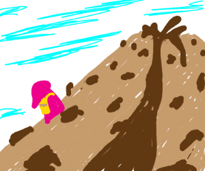 Girl climbs cookie volcano