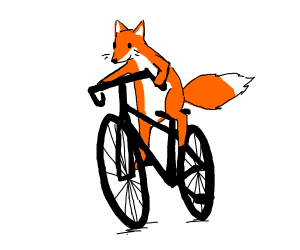 Fox riding a bicycle