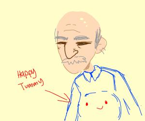 stumpy man with hairy ears and happy tummy