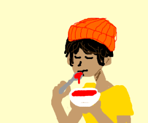 Eating soup with a hat on