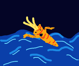 a carrot swimming in the ocean