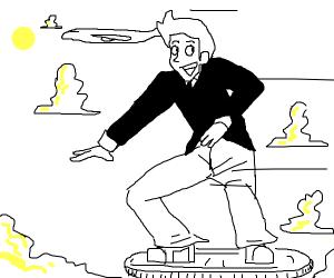 man flys around on big coin