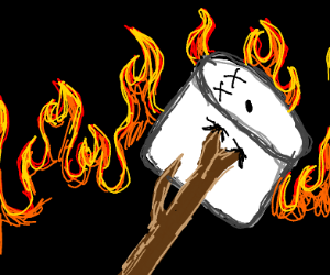 Dead marshmallow on a stick