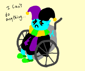 Jevil in a wheelchair