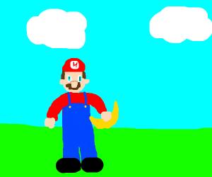 Mario holding a banana