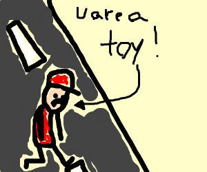 a toy man walks down a road