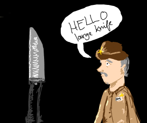 Sheriff salutes a large knife