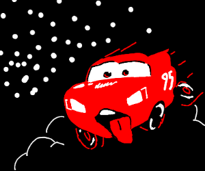 sentient car with tongue out in a race