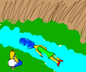 Homer found Marge's body floating down river