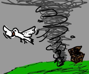 A bird flying away from a tornado