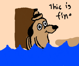 """""""This is fine"""" comic except in water"""