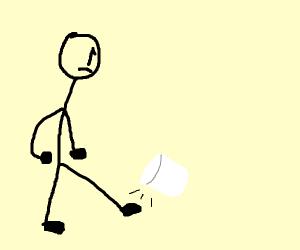 Man kicks marshmallow