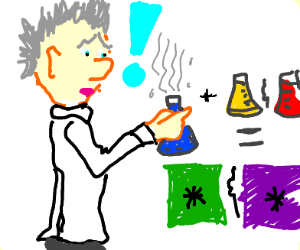 Scientist discovers the colors green & purple