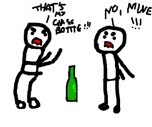 Men argue over glass bottle