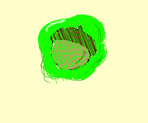 Acorn in green slime on it