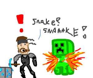 solid snake plays minecraft