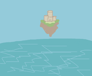 A castle floating over water
