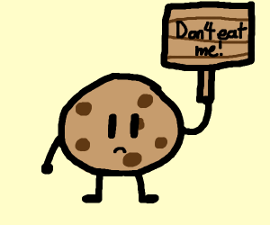 a cookie holding up a sign