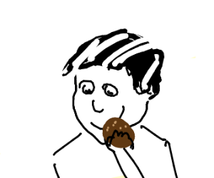 black and white hair guy has cookie
