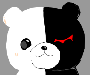 Black and white teddy bear with red eye