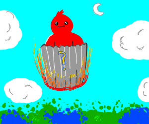 Red man waits in mystery thrash can