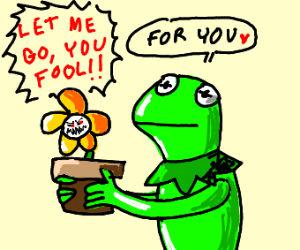 Kermit the frog offering you a potted plant
