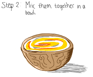 Step 1: buy eggs and flour