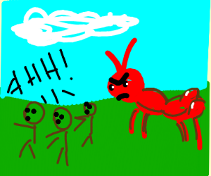 running away from the giant ants