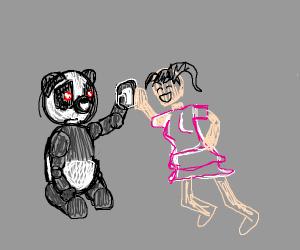 robot panda giving anime girl a highfive