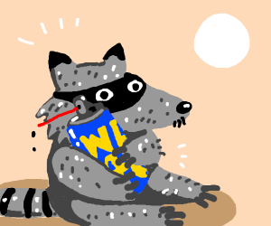 a raccoon holding wd-40