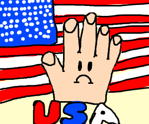 A sad hand infront of an american flag
