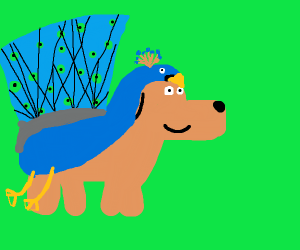 Dog in Peacock Costume