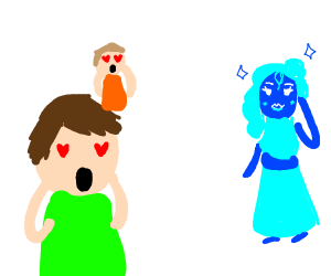 Everyone is amazed by blue-girl