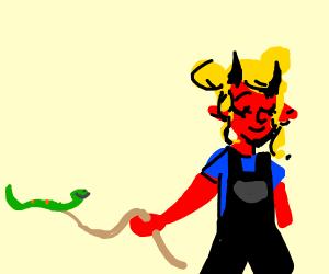 Demon girl has a snake pet