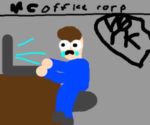 Sad guy on computer