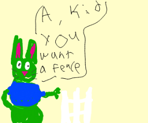 Green Bunny With No Pants Offers Free Fences