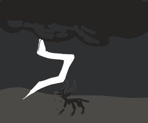 Crippled goat almost gets struck by lightning
